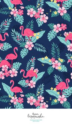 Colorful fabrics digitally printed by Spoonflower - Tropical Flamingos - Navy Add a pop of pattern with unique fabric, wallpaper & gift wrap. Flamingo Wallpaper, Flamingo Art, Summer Wallpaper, Wallpaper Iphone Cute, New Wallpaper, Flower Wallpaper, Pattern Wallpaper, Cute Wallpapers, Wallpaper Backgrounds
