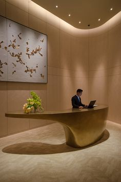 Park Hyatt, Bangkok | Projects | Inverse Lighting Hotel Reception Desk, Modern Reception Desk, Reception Desk Design, Lobby Reception, Reception Furniture, Lobby Interior, Office Interior Design, Hotel Lobby Design, Art Deco Home
