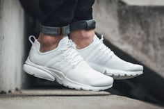"The Nike Air Presto Is the Subject of a Subtle Premium Makeover: Complete with a ""Triple White"" colorway. Nike Air Presto Id, Nike Air Presto White, Addidas Sneakers, Best Sneakers, Men S Shoes, New Shoes, All White Nike Shoes, White Nikes, Nike Clothes Mens"