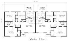First Floor Plan of Ranch   Multi-Family Plan 61274