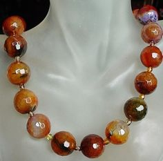 Multicolor Agate Necklace  Sterling Silver Finish 20lg by camexinc, $29.00