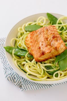 Teriyaki-Ginger Salmon with Sesame Zucchini Noodles. Phase 1 friendly. Notes: use sugar substitute instead of honey.