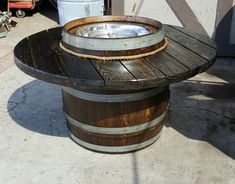 Wine Barrel Fire Pit, Wine Barrels, Outdoor Lounge, Outdoor Living, Outdoor Decor, Poker Table Top, Bourbon Barrel, Backyard Patio, This Is Us