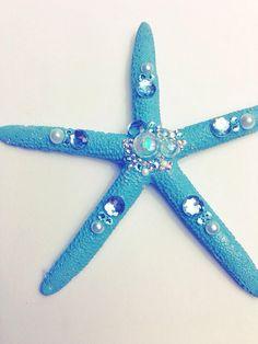 Small Blue Mermaid Starfish Hair Clip with Crystals, Wedding Beach Hair on Etsy, $20.00