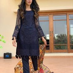 Anmol baloch looking utterly gorgeous in this eastern outfit from 💕 she can literally pull off any look 👀 Pakistani Fashion Casual, Pakistani Dresses Casual, Pakistani Dress Design, Indian Dresses, Indian Outfits, Stylish Dress Designs, Designs For Dresses, Stylish Dresses, Simple Dresses