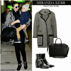 Miranda Kerr in grey wool coat with black skinny jeans, black duffel bag and black chain ankle boots