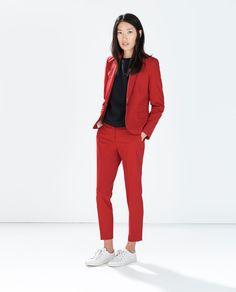Single Button Blazer & Cropped Trousers {Zara}