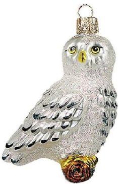 Wildlife Arctic Owl Polish Glass Christmas Ornament Made in Poland Decoration