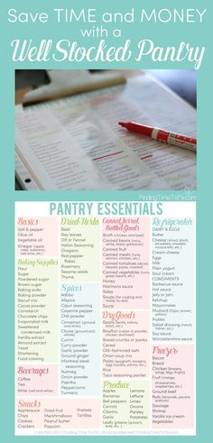This is a great list of essential pantry items to stock in your kitchen. I love that it's a free printable. Just print, place it in a sheet protector and reuse it. My kitchen is about to become organized!