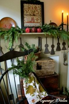 My decorating is very limited this year. I did, however, have fun with my mantle and hooking chair. The beautiful crewel bag arrived. Primitive Country Christmas, Christmas Mantels, Antique Christmas, Primitive Christmas, Rustic Christmas, Winter Christmas, Christmas Decorations, Christmas Trees, Merry Christmas
