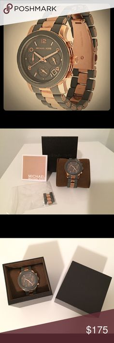 MK 5465 runway gray and rose gold silicone watch. MK 5465 runway gray and rose gold watch. Comes with box, pillow, additional links and booklet.  Has small tear in silicone on underside of band (see photo). Otherwise, great condition. Needs new battery. Wonderful and timeless piece for your collection. Michael Kors Accessories Watches