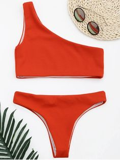 e012245f36186 AD   Ribbed Texture One Shoulder Bikini - RED S One shoulder lined two  piece swimwear