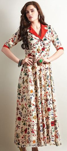 Printed kurti designs - 455563 Beige and Brown color family Long Kurtis in Faux Georgette fabric with Printed work Dress Neck Designs, Blouse Designs, Pakistani Dresses, Indian Dresses, Long Kurtis Online, Printed Kurti Designs, Casual Dresses, Fashion Dresses, Kurta Designs Women