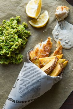Fish & Chips and Minted Smashed Peas