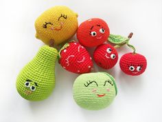 Play food, soft hand made Eco vegan toys for baby includes 6 joyful colored fruits: green pear (8.5/5.5 sm) red cherries (9/4.5 sm) yellow