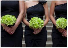 Green and black wedding, green bouquets, black bridesmaid one shoulder dresses.  a Carolina Wedding Design wedding  www.carolinaweddingdesign.com