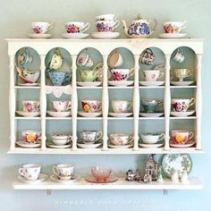 How To Create The Most Amazing Tea Room Kitchen, You can appreciate break fast or various time intervals using tea cups. Tea cups also provide ornamental features. Once you look at the tea pot versions, you might find this clearly. Tea Cup Display, Decoration Shabby, Tea Station, Displaying Collections, Tea Cup Saucer, Tea Time, Crafts, Room Kitchen, Focal Points