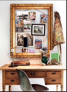 Bulletin Board Idea: Chicken wire + clothes pins to hold items instead of cork + push pins . would give a lighter feel than typical boards because you see through the chicken wire to the wall color behind Home Office Inspiration, Sunday Inspiration, Design Inspiration, Inspiration Boards, Office Ideas, Office Art, Design Ideas, Workspace Inspiration, Desk Office