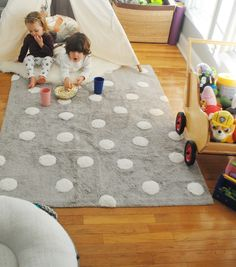 Now that they have this Lorena Canals Machine Washable Children's Rugs in their playroom, I'm not afraid of them eating a snack in there! Reason being is because these rugs are WASHABLE! Shop lorenacanals.com for more kids room ideas and stylish rugs for children's rooms.