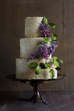 Lace Wedding Cake with Lilac Sugar Flowers   Cake by Modern Lovers