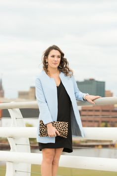 Bonjour Blue: Style & Life Blog- blue coat and leopard clutch