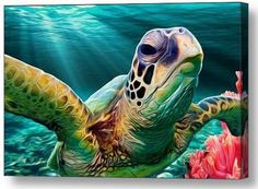 For you Tropical Paradise Lovers out there - Sea Turtle Cruise. I swam right next to two sea turtles while snorkeling in Hawaii two years ago. It was such an impressive sight, and the inspiration for Sea Turtle Art, Turtle Love, Sea Turtles, Turtle Painting, Ocean Art, Sea Creatures, Under The Sea, Painting Inspiration, Artwork