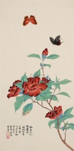 俞致贞工笔画 Plum Flowers, H, Rooster, Animals, Animales, Animaux, Animal, Animais, Chicken