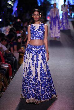 Manish Malhotra showcased his 'The Blue Runway' collection at the Lakme Fashion Week Summer/Resort 2105. #gorgeous #bluerunway #manishmalhotra #designer #LFW