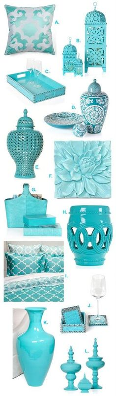 I'm loving Z Gallerie's aquamarine line of accessories....the hue is so vibrant and bold that just looking at the color makes me happy! A...