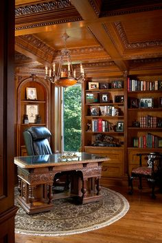 Quarter Sawn White Oak Library with Carved Elements – Luxury Office Designs Home Library Rooms, Home Library Design, Home Libraries, Office Interior Design, Home Office Decor, Office Interiors, House Design, Home Decor, Library Ideas