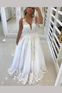 Prom Dress With Appliques, Prom Dress Long, Prom Dress Backless, Cheap Prom Dress, V-neck Prom Dress, Prom Dresses Long #PromDressWithAppliques #PromDressLong #PromDressBackless #CheapPromDress #VneckPromDress #PromDressesLong
