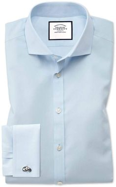 65f54164d70ca1 Slim fit non-iron mid-blue Oxford stretch shirt