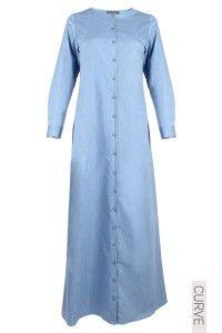 CURVE Kristen Denim Jubah Dress - Light Blue Denim - poplook.com