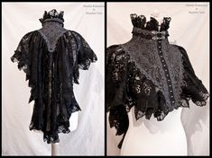 somniaromantica:  This time a capelet / shrug in grey with black lace and grey trim :)  I made the shape of this one a bit different than the previous ones, with less volume at the front and more volume and length at the mid back. Inspired by late victorian fashion, adjusted to own design.For all my sites you can visit:www.somniaromantica.com :)