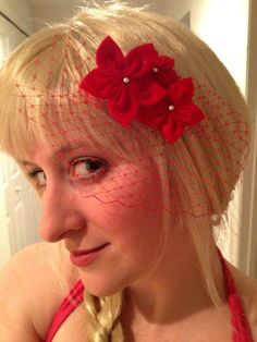 Red Pointsettia Sparkle and Silver Hair Clip with by EllieAndM
