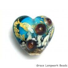 Grace Lampwork Beads // 11819805 - Aqua Treasure Heart