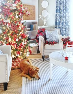 Blue and White and Red Christmas Decor (and a Giveaway)