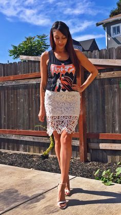 Batman 'Batmanga' tank top and lace skirt outfit #ootd #geekfashion