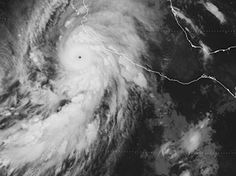 Hurricane Patricia was possibly the most powerful hurricane ever recorded in the Western Hemisphere, with maximum sustained winds of more than 320 km/h (200 mph). GOES-13 infrared image, 23 October 14:00 UTC