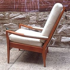 Vintage Cintique Lounge Chair Made In England   Newly refinished vintage lounge chair by Cintique of England. Removable cushions with new upholstery   Primary View   Rocket Century