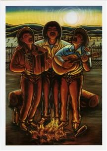 """Notecard with Simon Silva's vibrant """"Los Compadres"""" painting. Latin Artists, Mexican Artists, Diego Rivera Art, Mexican Wall Art, Mexican Paintings, Hispanic Art, Latino Art, Southwestern Art, Mexico Art"""