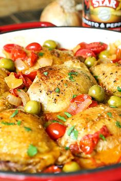 Pan Fried Chicken Thighs with Olives & Tomatoes #STARFineFoods #STAROlives