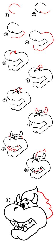 To Draw Bowser - Art For Kids Hub - How to draw Bowser! Drawing Lessons, Drawing Tips, Painting & Drawing, Cartoon Drawings, Easy Drawings, Cartoon Illustrations, Art For Kids Hub, Step By Step Drawing, Cartoon Kids