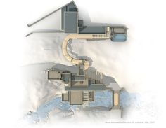 Site Plan of Fallingwater CE) Pennsylvania, by Frank Lloyd Wright Water Architecture, Architecture Panel, Futuristic Architecture, Architecture Details, Falling Water Frank Lloyd Wright, Frank Lloyd Wright Homes, Casa Kaufmann, Falling Water House, Falling Waters