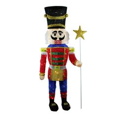 Product features: Nutcracker is dressed in a red and blue uniform and is holding a star scepter Pre-lit with 105 clear mini lights 6 inch white lead cord Wire gauge: 22 Additional product features: UL