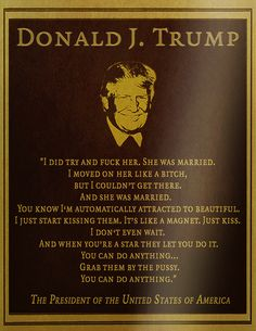 --- The Words of Donald Trump! His Wife, Melania said He was ''Egged'' on by Billy Bush, The Kid Forced Trump to say this! Trump Poster, Donald Trump, Le Mans 24, Ignorant, Protest Signs, She Likes, Dumb And Dumber, Presidents, Socialism