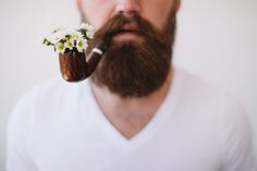 The Classy Issue : Photo Flower Drawing Tumblr, Drawing Flowers, Flower Beard, Little Presents, Bloom, Moustaches, Hair And Beard Styles, Facial Hair, Bearded Men