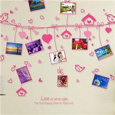 Popular Pretty Love Birds Photo Frame Wall Stickers