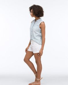 The Hailey In White Restored Shorts AG Jeans Official Store Render People, People Png, Ag Jeans, Formal Shirts, Drawing Poses, Silk Crepe, Sleeveless Shirt, Ready To Wear, Montages