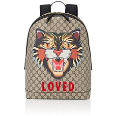 Gucci Men's Cat-Print GG Supreme Backpack ($1,750) ❤ liked on Polyvore featuring men's fashion, men's bags, men's backpacks, tan, mens backpack and gucci mens backpack